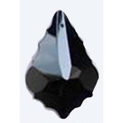 Üvegmedál medáltartóval, baroqe, 38x26mm, black diamond, 1 db/csomag