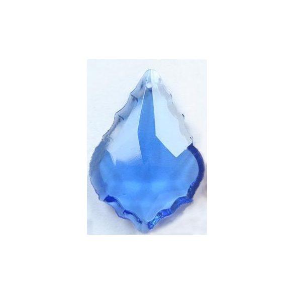 Üvegmedál medáltartóval, baroqe, 38x26mm, light sapphire, 1 db/csomag