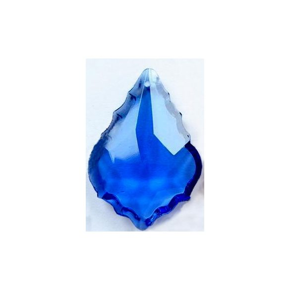 Üvegmedál medáltartóval, baroqe, 38x26mm, sapphire, 1 db/csomag
