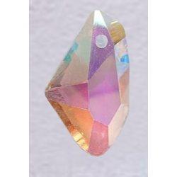 Üvegmedál medáltartóval, de-art, 18x11x12mm, crystal AB, 6 db/csomag