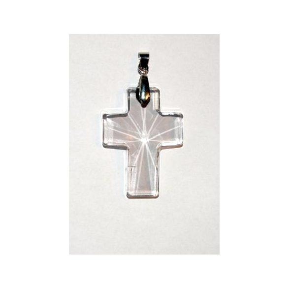 Üvegmedál medáltartóval, kereszt, 40x30mm, crystal, 1 db/csomag