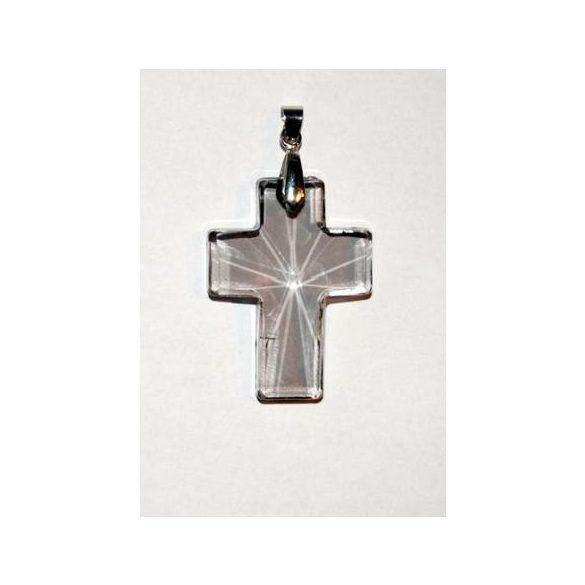 Üvegmedál medáltartóval, kereszt, 40x30mm, crystal AB, 1 db/csomag