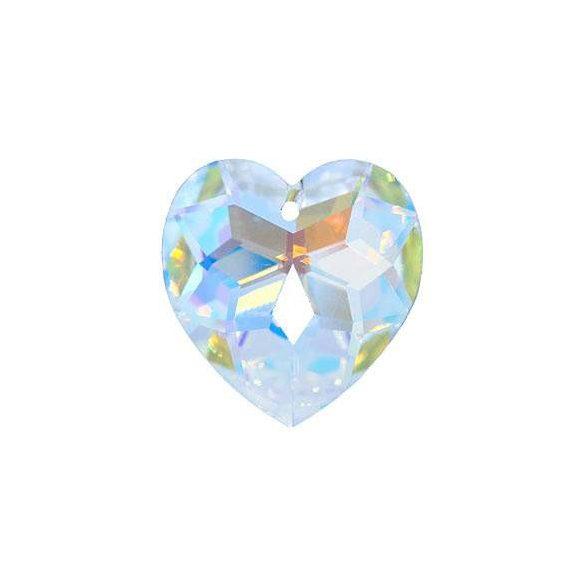 Üvegmedál medáltartóval, szív,14mm, crystal AB, 6 db/csomag