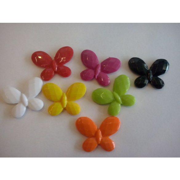 Fűzhető műanyag lepke, vegyes szín, 23x30 mm, 50 db/csomag