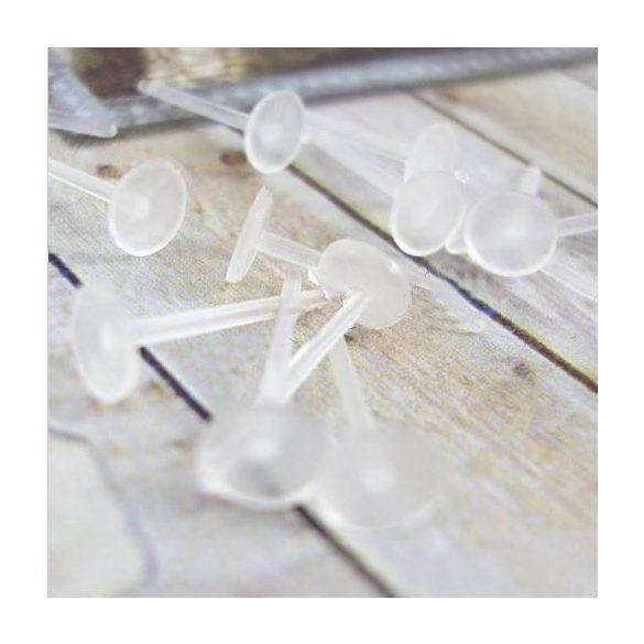 Műanyag fülbevaló stift, 12x5mm, 100db/csomag