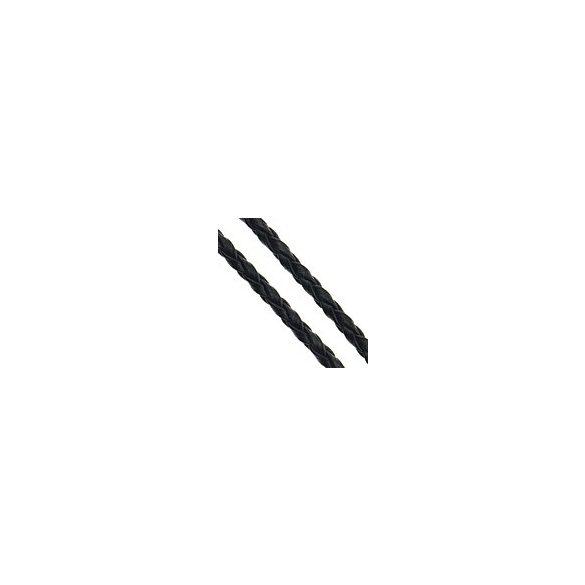 Műbőr szál, fonott, 3mm-es, fekete, 5m/szál