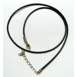 Gömbölyített bőr nyaklánc szerelékkel, fekete, 10 db/csomag