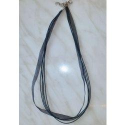 Organza és viaszolt zsinór nyaklánc, 51cm, fekete, 10 db/csomag
