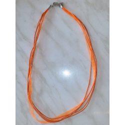 Organza és viaszolt zsinór nyaklánc, 51cm, narancssárga, 10 db/csomag