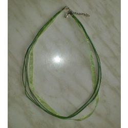 Organza és viaszolt zsinór nyaklánc, 51cm, olivazöld, 10 db/csomag