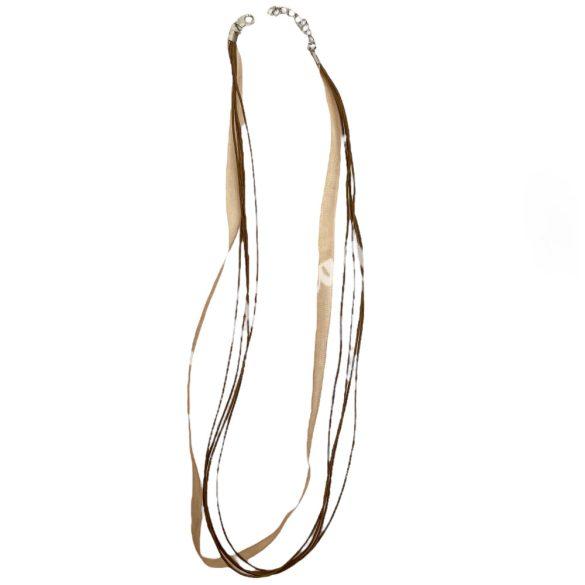 Organza és viaszolt zsinór nyaklánc, 51cm, őzbarna, 10 db/csomag