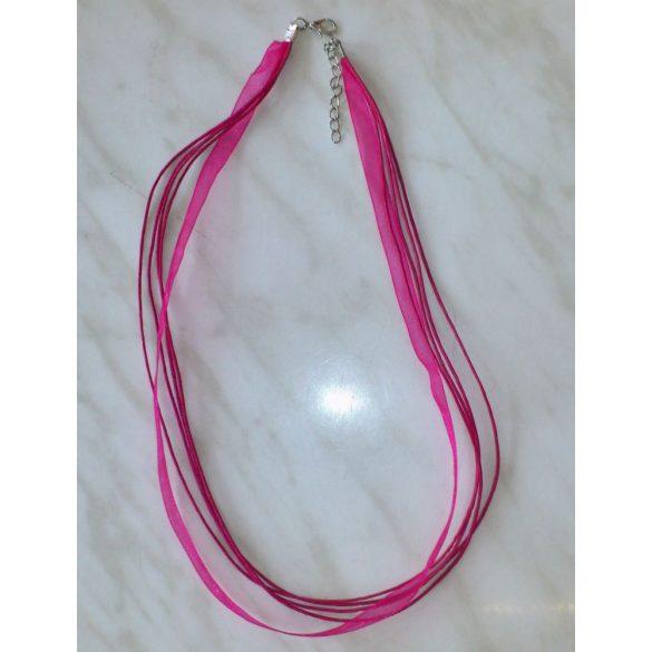 Organza és viaszolt zsinór nyaklánc, 51cm, pink, 10 db/csomag