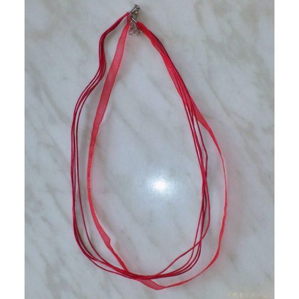 Organza és viaszolt zsinór nyaklánc, 51cm, piros, 10 db/csomag