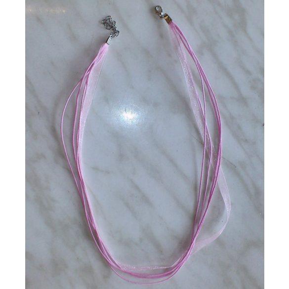 Organza és viaszolt zsinór nyaklánc, 51 cm, rózsaszín, 10 db/csomag
