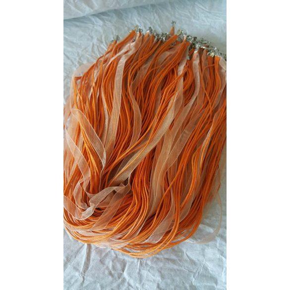 Organza és viaszolt zsinór nyaklánc,51 cm,narancs-krém, 10 db/csomag