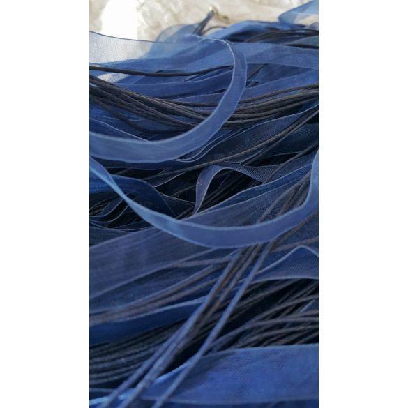 Organza és viaszolt zsinór nyaklánc,51 cm,sötétkék, 10 db/csomag