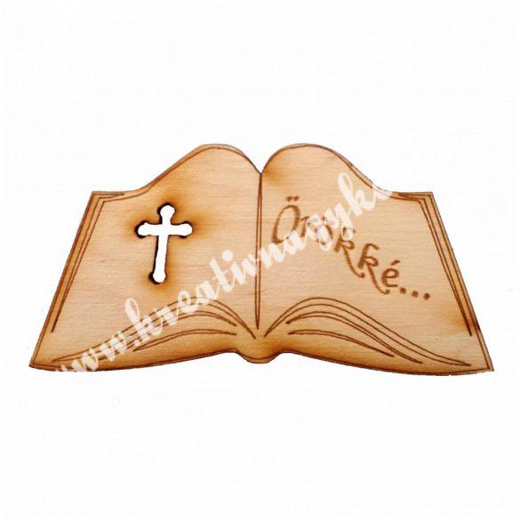 Nyitott könyv faforma Örökké felirattal, 8x4 cm, 5 darab/csomag
