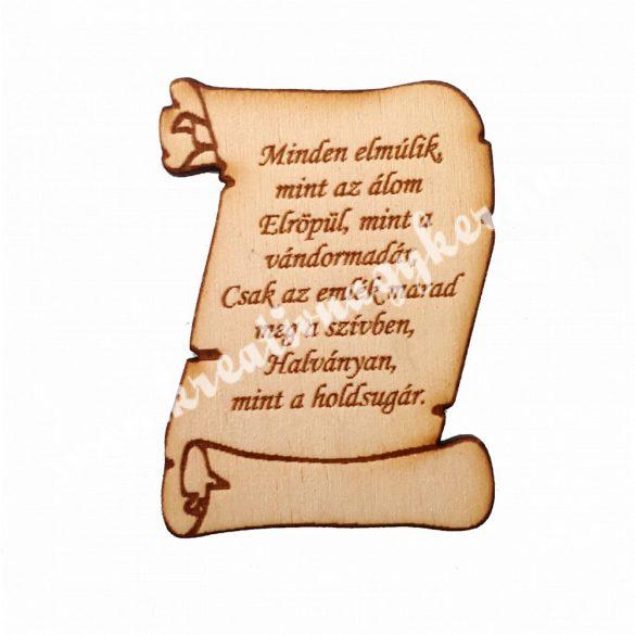 Pergamen idézettel faforma, 7x5,5 cm, 5 darab/csomag