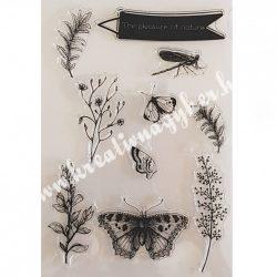 Szilikon pecsételő Növények, pillangók, szitakötő, 11x16 cm