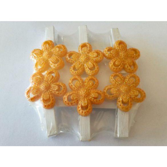Polyresin csipeszes virág 6db/csomag