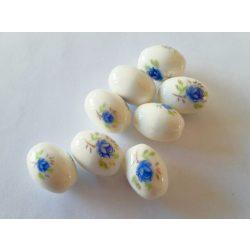 Porcelán gyöngy ovális, kék virág mintával 18x12mm, 10db/csomag