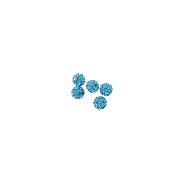 Kristály shamballa, 10mm, aquamarine, 10 db/csomag