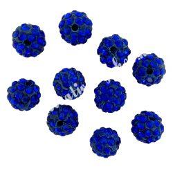 Kristály shamballa, 10mm, cobalt blue, 10 db/csomag