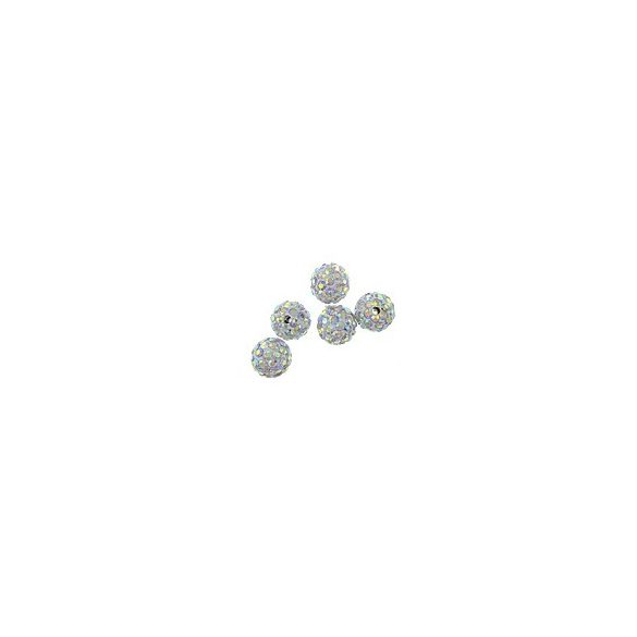 Kristály shamballa, 10mm, crystal AB, 10 db/csomag