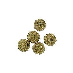 Kristály shamballa, 10mm, gold champagne, 10 db/csomag