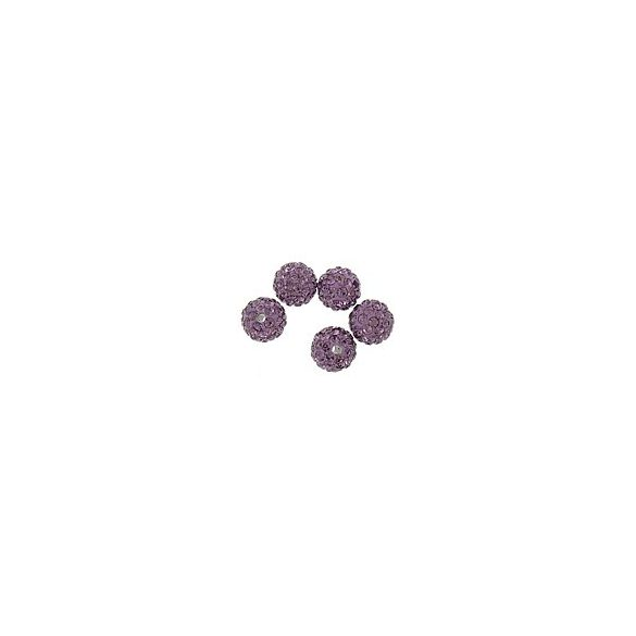 Kristály shamballa, 10mm, light amethyst, 10 db/csomag