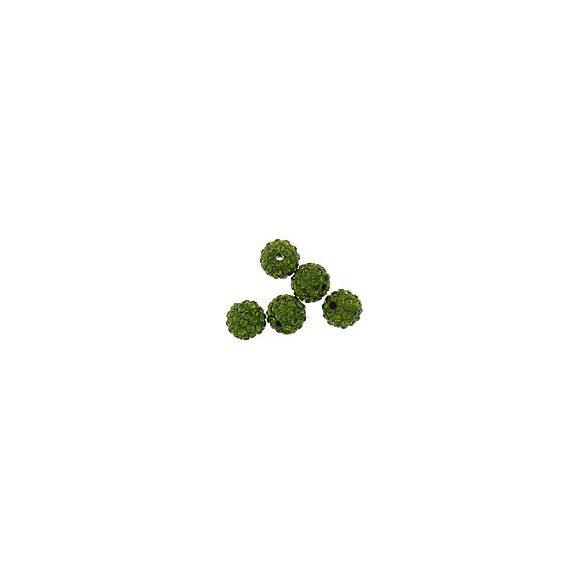 Kristály shamballa, 10mm, olive green, 10 db/csomag