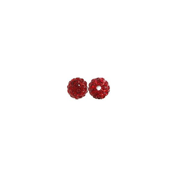 Kristály shamballa, 10mm, red, 10 db/csomag