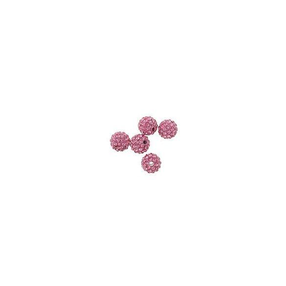 Kristály shamballa, 10mm, rose, 10 db/csomag