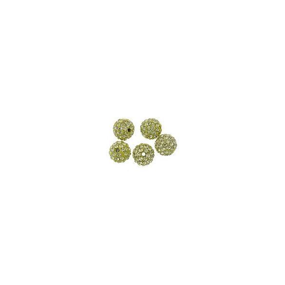 Kristály shamballa, 10mm, silver champagne, 10 db/csomag