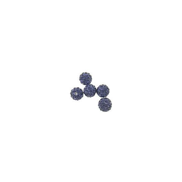 Kristály shamballa, 10mm, tanzanite, 10 db/csomag