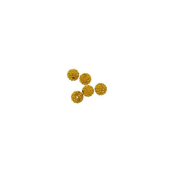 Kristály shamballa, 10mm, topaz, 10 db/csomag