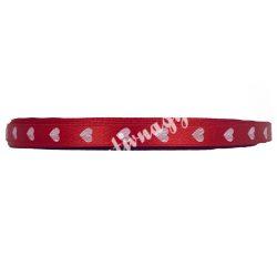Szatén szalag, szív mintás, 10mmx100yard, piros, 100 yard/tekercs (-91m)