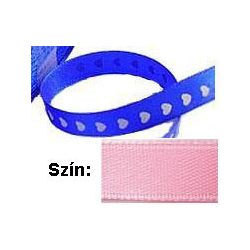Szatén szalag, szív mintás, 10mmx100yard, rózsaszín, 100 yard/tekercs (-91m)