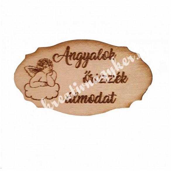 Táblácska Angyalok őrizzék álmodat, 7x4 cm, 5 darab/csomag