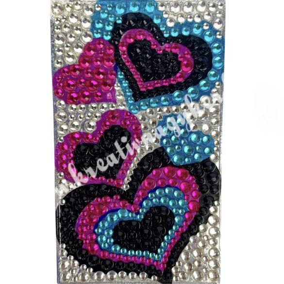 Telefonmatrica, szívek, fekete-kék-rózsa, 40x130mm, db