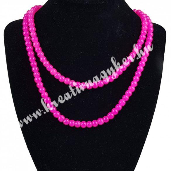 Üveggyöngy ,pink,6 mm,1 szál
