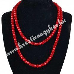 Üveggyöngy ,piros,6 mm,1 szál