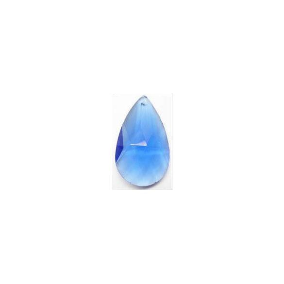 Üvegmedál csepp, 63x37x16, sapphire, 1 db/csomag