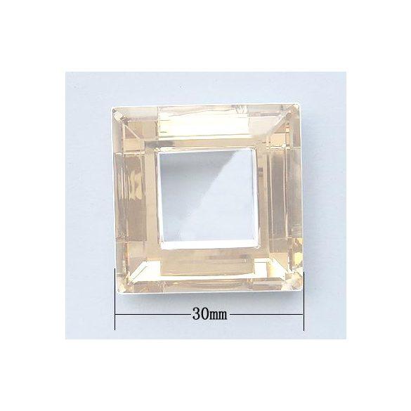 Üvegmedál furat nélkül, négyzet, 30x7, 1 db/csomag