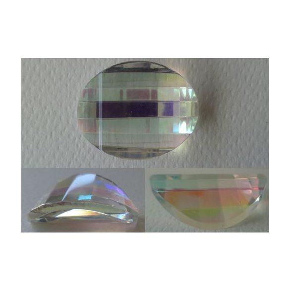 Üvegmedál furat nélkül, ovális, 31x22x10mm, crystal AB, 1 db/csomag