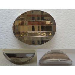 Üvegmedál furat nélkül, ovális, 31x22x10mm, light smooky topáz, 1 db/csomag